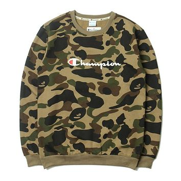 Bape X Champion Ape Men Camo Sweater M Xxl