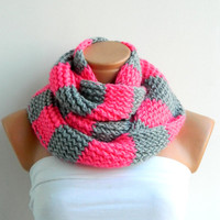 candy pink infinity scarf.Hand Knit Striped Gray and Pink infinity scarf Block Infinity Scarf. Loop Scarf, Circle Scarf,