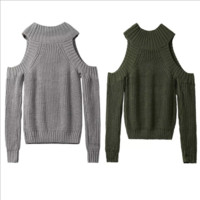 Cold Shoulder Knitted Sweater B0014630