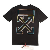 Off White Fashion New Multicolor Cross Arrow Print Women Men Top T-Shirt  Black