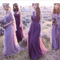 Lavender Bridesmaids Dress Strapless Style  Fashion  Tulle Group Long Bridesmaid Dresses Under 50 Bride Toast Convertible Dresses