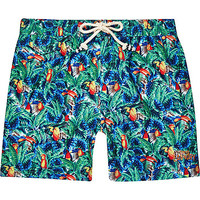 River Island MensGreen tropical Tokyo Laundry swim trunks