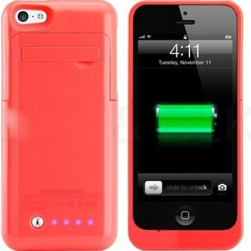 Kujian iPhone 5s Battery Case External Battery Power Bank with Kickstand Holder for Apple iPhone 5/5S/5C/SE (iOS 8 or above Compatible)-White