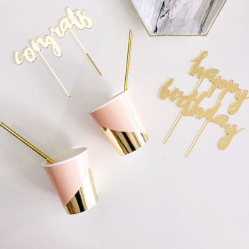 Pink Paper Cups, Blush and Pink, Party Decor, Birthday, Baby Shower, Wedding Decor, Baby, Gold