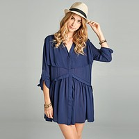 Roll-Tab Sleeve Swing Tunic