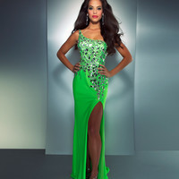 Mac Duggal Prom 2013 - One Shoulder Neon Lime Sequin Dress With Mesh Back - Unique Vintage - Cocktail, Pinup, Holiday & Prom Dresses.