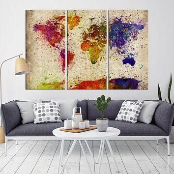 94298 Large Wall Art World Map Watercolor Canvas Print Splashed World Map Canvas Print Large