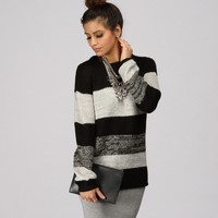 Sale-black Shimmery Colorblock Knit Sweater