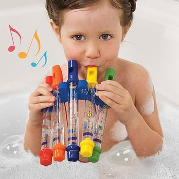 Row Kids Children Colorful Water Flutes Bath Tub Tunes Toy Fun Music Sounds Bath Toy