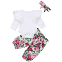 Newborn Baby Girl Solid Romper Tops Floral Pants Headband Outfits Clothes 0-24M