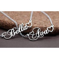 Custom Women's Name Necklace with Double Empty Heart Nameplate Pendant Stainless Steel Necklace 45cm