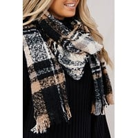 Plaid About You Blanket Scarf (Black)