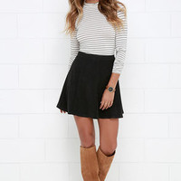 Wrangle the Wind Black Suede Skirt