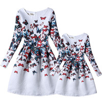 Mother and Daughter Dresses Family Clothes Baby Girls Long Sleeve Print Party Matching Outfits Mom and Girl Dress Autumn Vestido