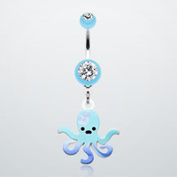 OCTOPUS NAVEL RING: BNB-239;BLUE;AVAILABLE in 2 colors,Sold individually