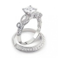 Bling Jewelry Sterling Silver Vintage 2ct Round and Teardrop Cut Wedding Engagement Ring Set: Jewelry