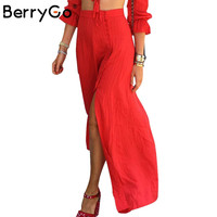 BerryGo Vintage party elegant long skirt Split up bohemian chiffon skirts womens Casual loose maxi beach summer red skirt