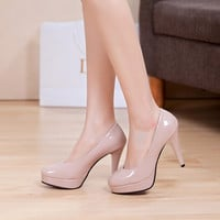 Leather platform round toe high heels shallow mouth thin heels