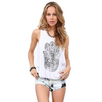 CrazyPomelo Hand of Fatima Printed Loose Fit Backless Vest White