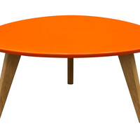 Diamond Sofa Retro Cocktail Table with Gloss Finished Top & Solid Oak Legs Orange/Oak