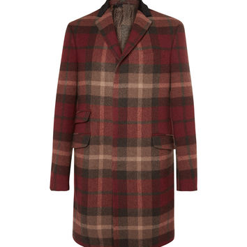 Etro - Velvet and Calf Hair-Trimmed Plaid Wool-Blend Coat