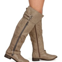 Beige Knee High Riding Boots
