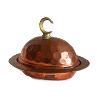 Vintage copper Oriental sugar bowl brass CRESCENT FINIAL alem tiny LIDDED serveware - Cute candy, sweets, Turkish delight serving dish