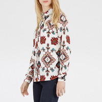 Long Sleeves Printed Button Down Lapel Shirt