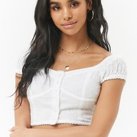 Off-the-Shoulder Eyelet Crop Peasant Top