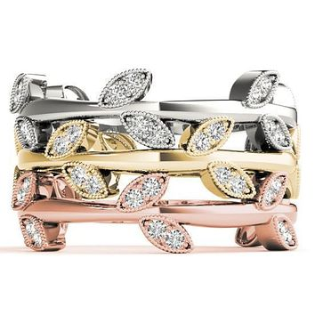 Stackables 3/4 Eternity Tri-Tone Gold Nature-Inspired Bezel-Set Diamonds 3-Band Set Selectables