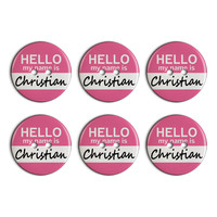 Christian Hello My Name Is Plastic Resin Button Set of 6