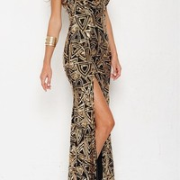 Long Gold Sequin Spaghetti Strap Dress With Front Slit