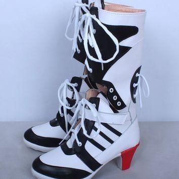 Hight quality Suicide Squad Costume Shoes Harley Quinn Boots Harleen Quinzel Cosplay S