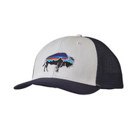 Patagonia Fitz Roy Bison Trucker Hat- White with Navy Blue