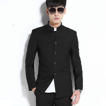 2016 Men Formal Business Stand collar Suits Pants Chinese Tunic Suits Black 2016 New Arrival Traditional Mandarin Plus Size