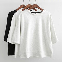 Plain Short-Sleeve Pullover Shirt