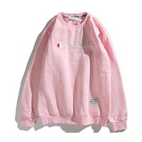 Champion 2018 autumn and winter new round neck sketch embroidery sweater F-CP-ZDL-YXC Pink