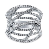 Sterling Silver Cubic Zirconia CZ Woven Ring 1.03 ct.twBe the first to write a reviewSKU# R1012-01