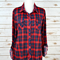 Country Backwoods Flannel - Red/Navy