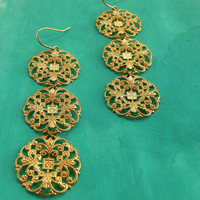 Romantic Gold Brass Filigree Medallion Long Earrings Gypsy Three Tier Statement Fashionable and Funky