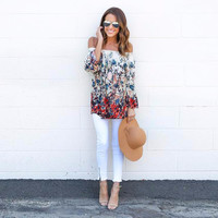 Ladies Ivory/Apricot Floral Off the Shoulder Chiffon Blouse/Top