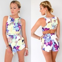 WATERCOLOUR FLORAL HIGH NECK CUT OUT BACK PEPLUM JUMPSUIT PLAYSUIT 6 8 10 12