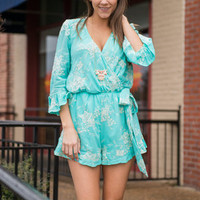 Sweet As Can Be Romper, Turquoise