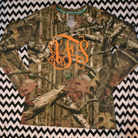Ladies Long Sleeve Vneck Camo Monogram Shirt ~ Womens Camouflage Tee shirt ~ Monogrammed ~ T shirt ~ Pocket Location ~Camoflauge