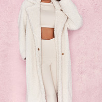 Clothing : Jackets : 'Bear' Milk White Faux Fur Sherpa Coat