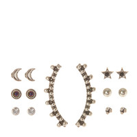 Antique Silver Celestial Ear Pin and Stud Earring Set