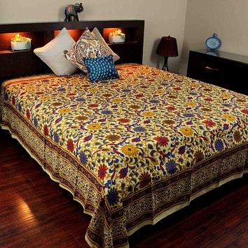 Cotton Sunflower Tapestry Bedspread Tablecloth Lemon Yellow Twin Full Queen King