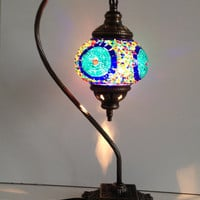 Blue bedside Mosaic Lamp With Vintage Look Square Base