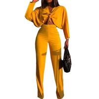 Sexy Formal Two Piece Set Women Autumn Long Sleeve Bow Tie Loose Crop Top and High Waist Wide Leg Pants 2 Piece Matching Outfits