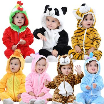 BINIDUCKLING Autumn Winter Flannel Baby Boy Clothes Cartoon Animal Jumpsuit Baby Girl Rompers Long Sleeve Hooded Infant Clothing